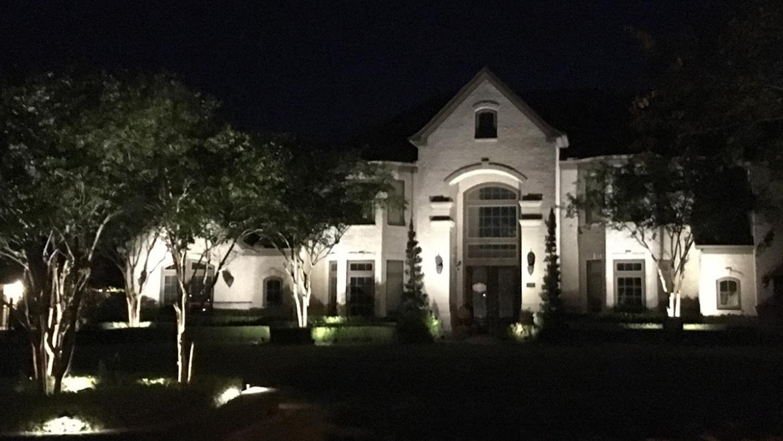 Modern Estate Shines at Night